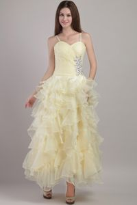 Light Yellow Straps Beaded Lovely Military Ball Gown with Ruffles