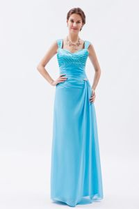 Chiffon Baby Blue Pretty Beading Military Ball Attire with Straps