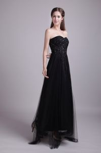 Ankle-length Black Pretty Sweetheart Military Gown with Appliques
