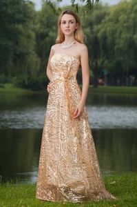Strapless Gold Empire Pretty Sequined Gown for Military Ball 2013