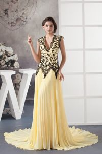 Pretty Chiffon V-neck Pleated Military Ball Gown in Light Yellow