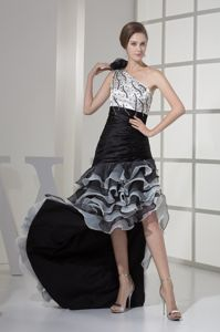 One Shoulder Bead High Low 2013 Military Ball Gown with Layers