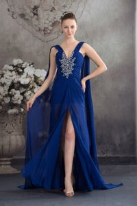 Watteau Train Beaded Stylish Royal Blue Military Ball Gowns Cheap