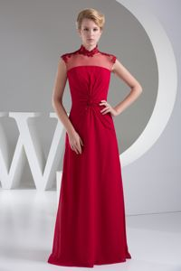 Column High Neck Popular Applique Empire Military Ball Gown in Red