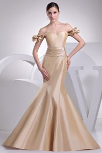 Off The Shoulder Mermaid Elegant Sashed Military Gown in Champagne