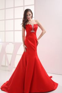 Ruching Red Beading Mermaid Elegant Military Ball Gowns Cheap 2013
