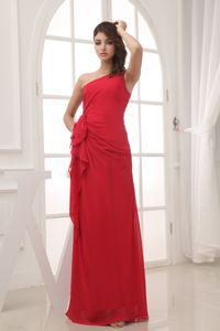 Chiffon One Shoulder Chic Red Long Dress for Discount Military Ball