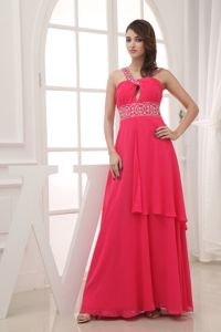 Empire Red V-neck Gown for Discount Military Ball with Beading 2013