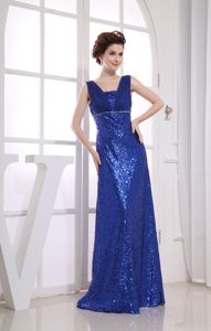Straps Sequined Square Ruches Royal Blue Military Ball Dress