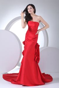 Hand Made Flowers Strapless Column Red Military Ball Dress