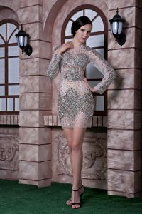 Long Sleeves Silver Beading Column Scoop Military Ball Dress