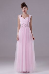 Pink Straps Square Military Ball Dress with Beading and Ruche