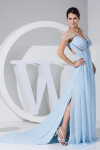High Slit Ruches Open Back Military Ball Dress in Light Blue