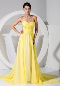 Sweetheart Brush Train Chiffon Military Ball Dress in Yellow