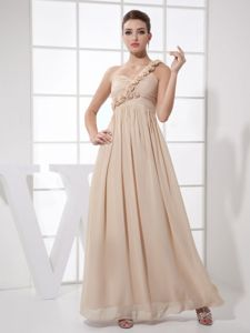 Flowers One Shoulder Ruches Champagne Military Ball Dress