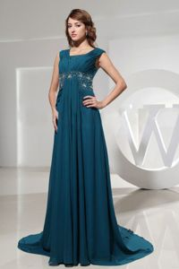 Square Blue Brush Train Military Ball Dress with Beading