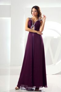 Beading A-line Military Ball Dress Ankle-length in Purple