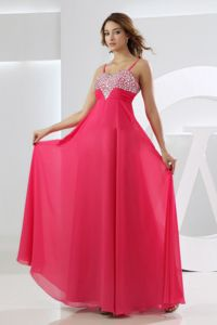 Empire Straps Military Ball Dress in Hot Pink with Beading