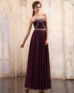 Sweetheart Beaded Chiffon Military Ball Dress in Dark Purple