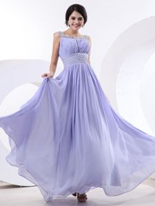 2013 Bateau Lilac Military Ball Dress with Beading and Ruche