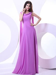 V-neck Lavender Chiffon Military Ball Dress Watteau Train