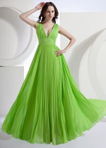 Spring Green A-Line V-neck Chiffon Pleat Military Ball Dress