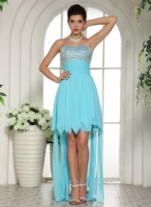 High-low Beading Sweetheart Aqua Blue Military Ball Dress