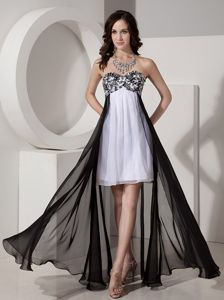 Appliques and Beading Military Ball Dress in Black and White