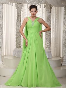 Cheap Spring Green V-neck Watteau Beading Military Ball Dress