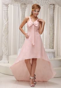 Bowknot Beaded Light Pink High-low Ruched Military Ball Dress