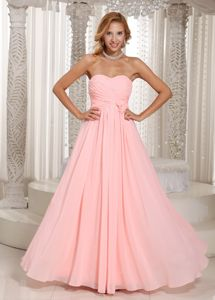 Sweetheart Baby Pink Military Ball Dress Ruched and Flowers