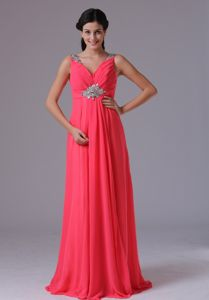Beading and Ruches V-neck Military Ball Dress in Coral Red