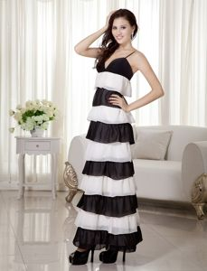 White and Black Straps Layers Plus Size Military Ball Dress