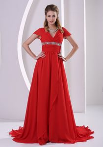 Beaded A-line V-neck Red Military Ball Gown with Cap Sleeves