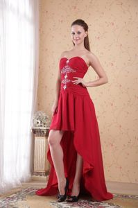 Red High-low A-Line Sweetheart Beading Military Ball Dress