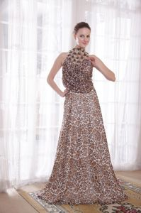 Unique Beading High-neck Empire Leopard Military Ball Dress