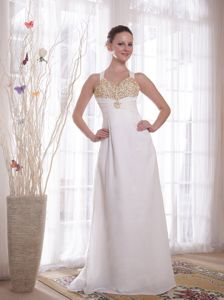 Cheap White Empire V-neck Beading Chiffon Military Ball Dress