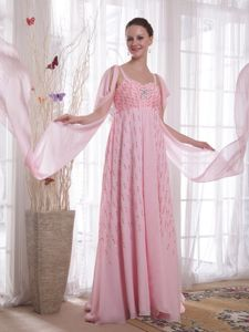 Pink Beading Straps Sequins Military Ball Dress Watteau Train