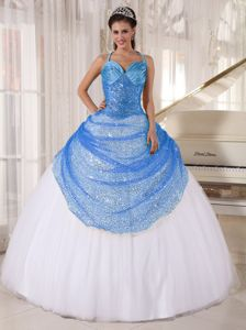 Straps Sequin Appliques Military Ball Gown in Blue and White