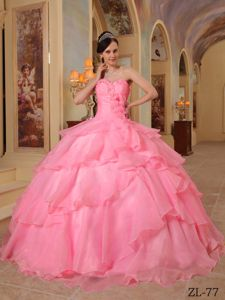 Sweetheart Watermelon Beading and Ruffles Military Ball Gown