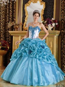 Hand Made Flowers Sweetheart Military Ball Gown in Light Blue