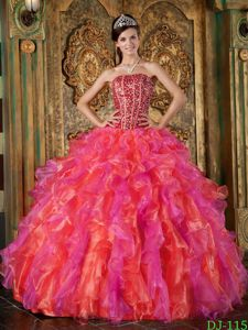 Multi-Color Strapless Military Ball Gown Beading and Ruffles