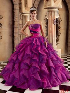 Ruffles Appliques Multi-color Strapless Military Ball Gown
