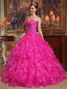 Sweetheart Beading and Ruffles Hot Pink Military Ball Gown