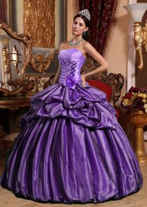 Hand Made Flower Strapless Pick-ups Purple Military Ball Gown