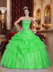 Spring Green Strapless Beading and Ruffles Military Ball Gown