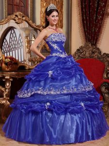Pick-ups Strapless Appliques Blue Discount Military Ball Gown