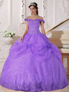 Purple Flowers Off The Shoulder Appliques Military Ball Gown
