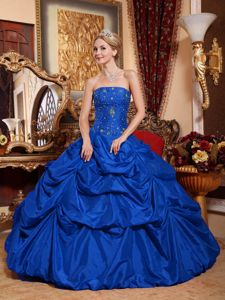 Royal Blue Strapless Military Ball Gown Beading and Pick-ups