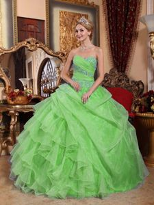 Ruched Sweetheart Appliques Spring Green Military Ball Gown